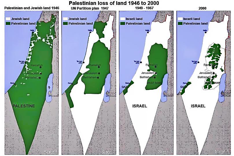 A palesztinoktól elvett terület (1946-2000)
